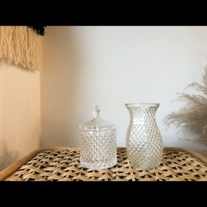 Studed glass jar with lid and small vase/container